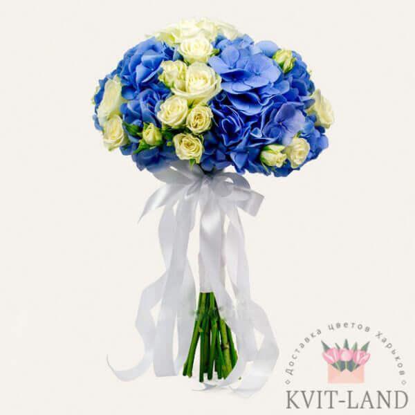 из гортензии и розы букет невесты