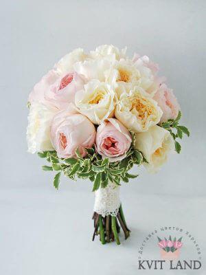 свадебный букет нежно-розового цвета