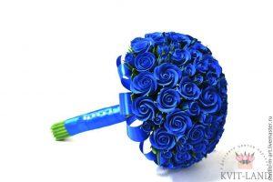 свадебный букет из синей розы