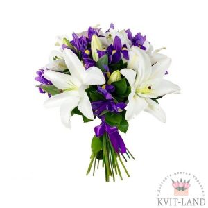 белая лилия и ирис