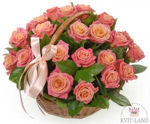 яркие розы в корзине