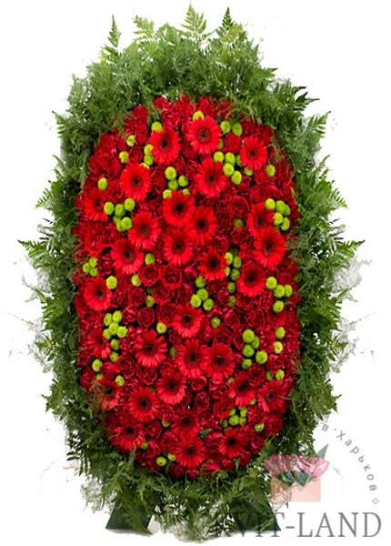 венок траурный из красных цветов