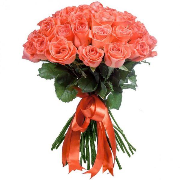 двадцать пять коралловых роз