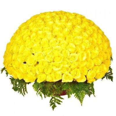 желтая роза в корзине