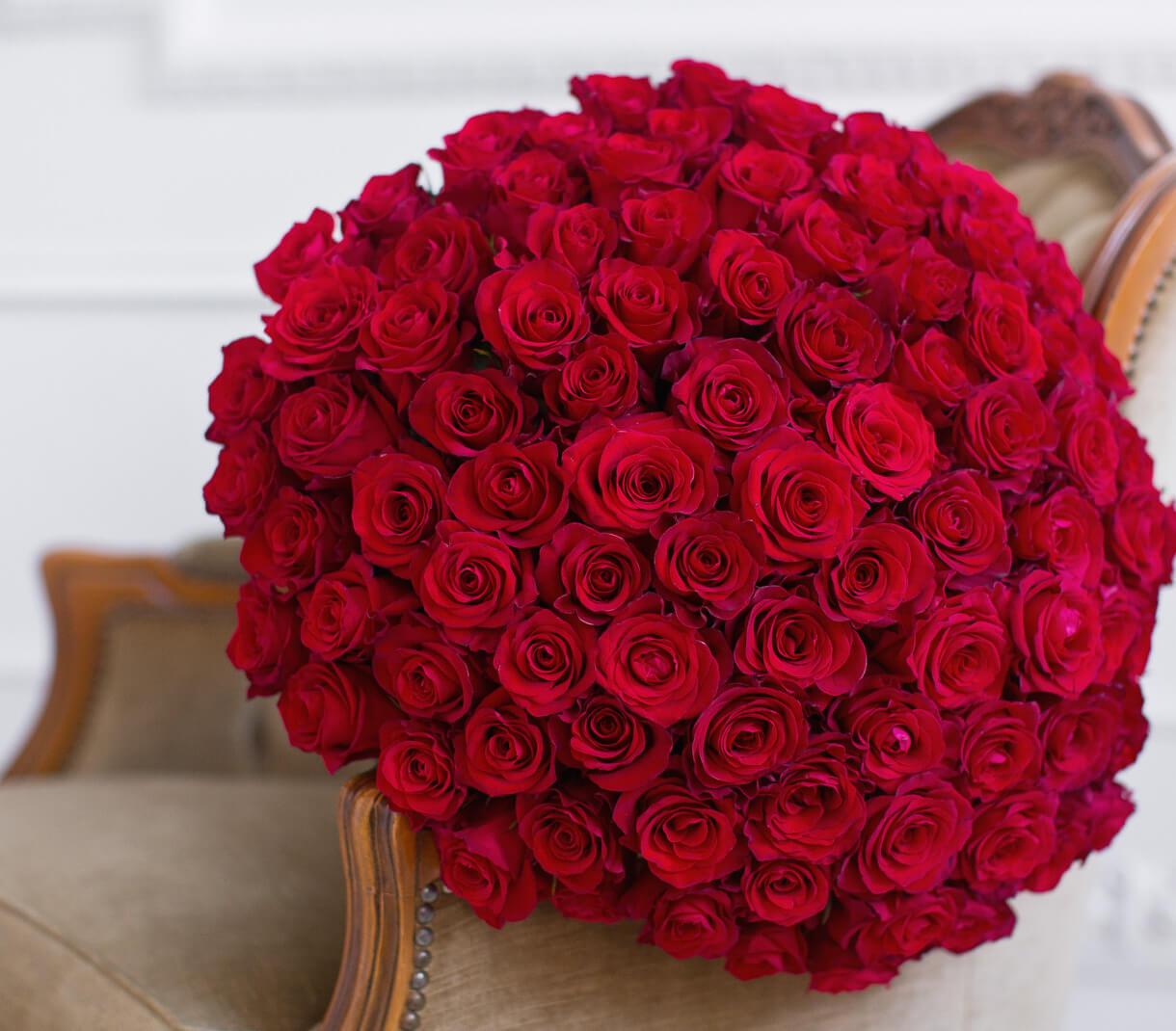 букет 101 красной розы