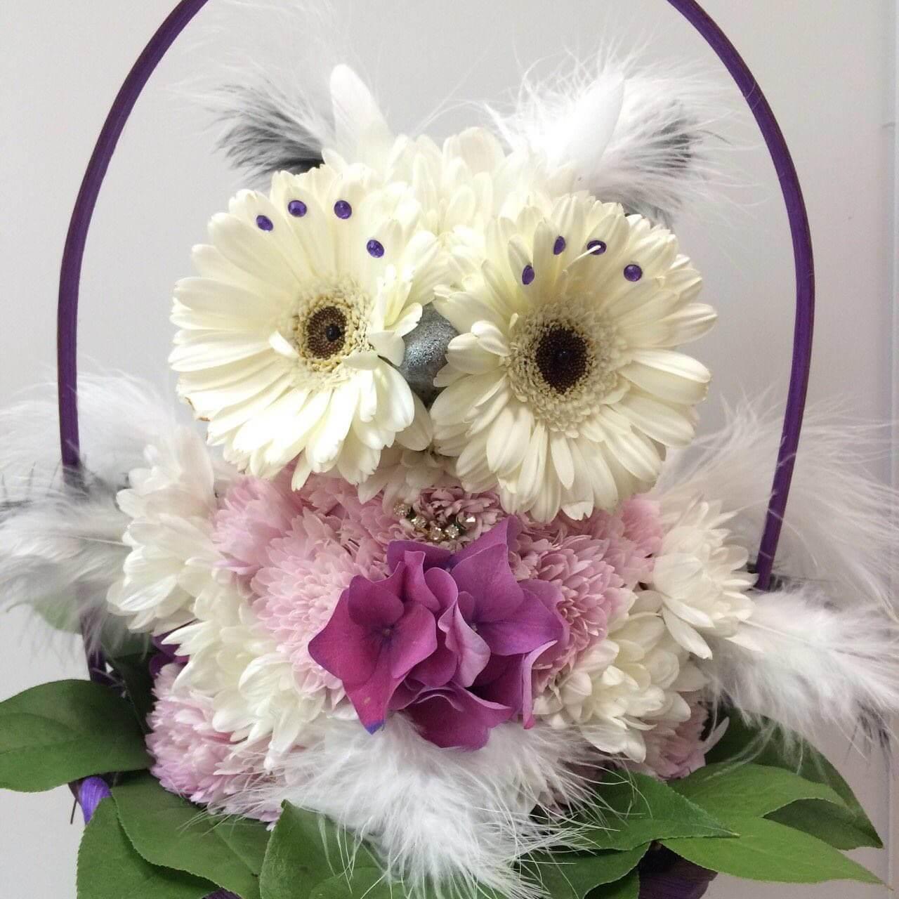 Белая сова из цветов